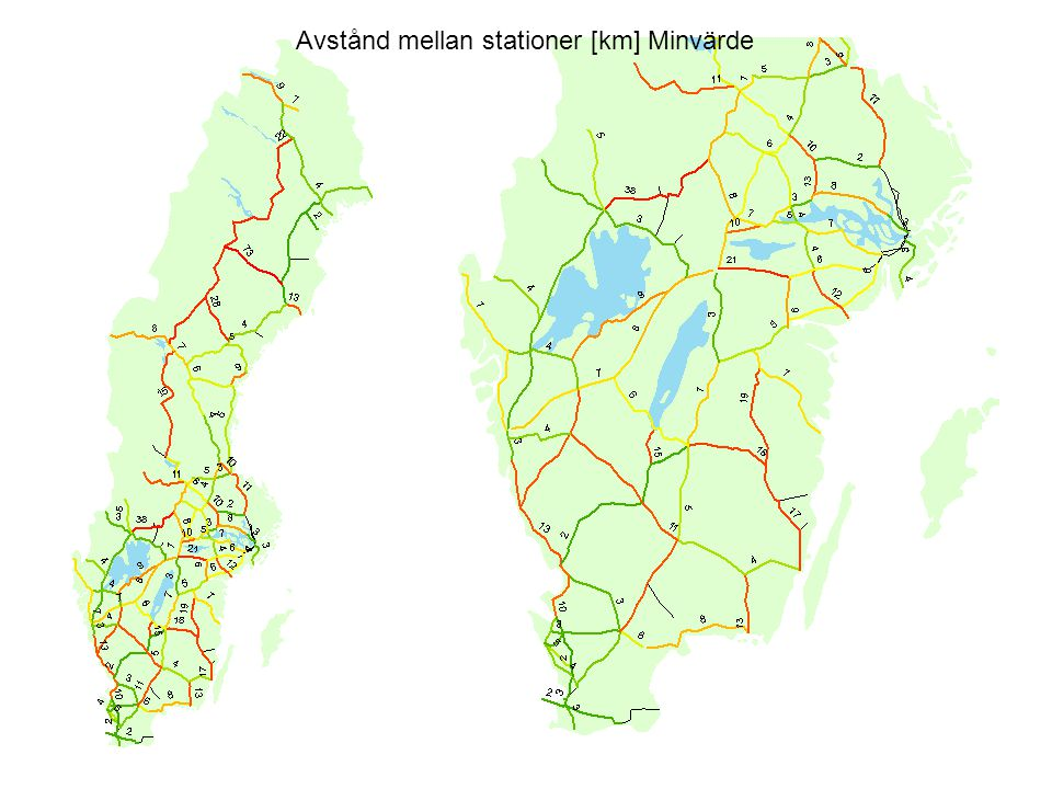 Avstånd mellan stationer [km] Minvärde